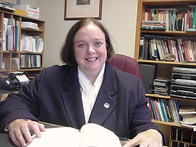 Interim Minister Rev. Mary Moore at her Desk