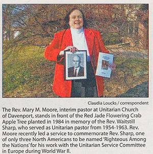 Rev. Mary Moore in the Rock Island Argus